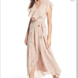 WAYF Pink Ruffle Flowing Palermo Floral Wrap Maxi